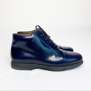 TOD'S Lace Up Leather Ankle boot Blue Size 39.5
